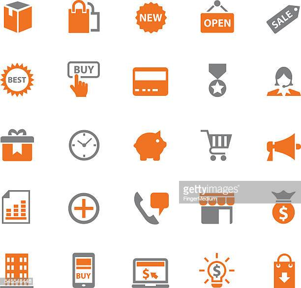 e-commerce icons set - ordering stock illustrations, clip art, cartoons, & icons