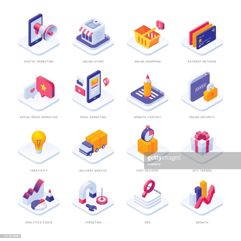 Icone isometriche di e-commerce : Illustrazione stock