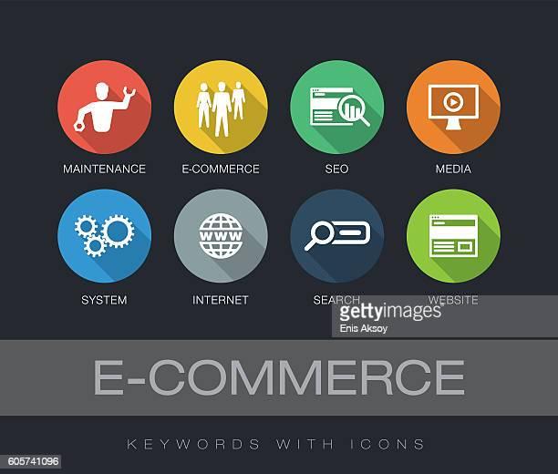 ilustrações de stock, clip art, desenhos animados e ícones de e-commerce keywords with icons - online advertising