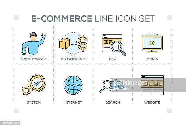 E-Commerce keywords with line icons