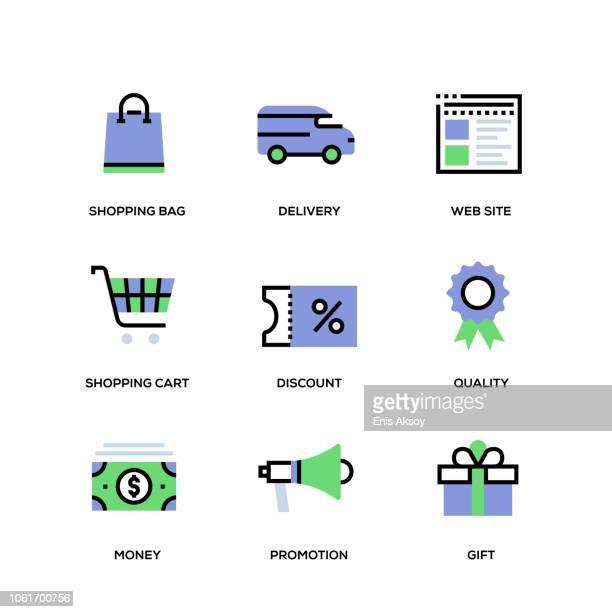 ilustrações, clipart, desenhos animados e ícones de conjunto de ícones de linha de e-commerce - vale