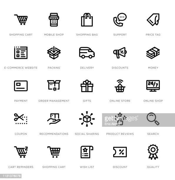 e-commerce line icon set - customised stock illustrations