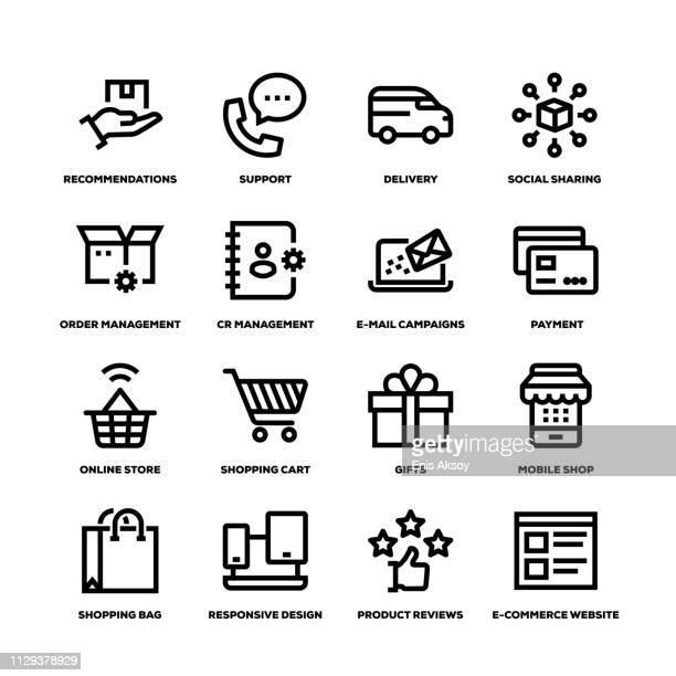 e-commerce line icons - customised stock illustrations