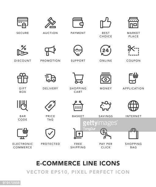 e-commerce line icons - e commerce stock illustrations