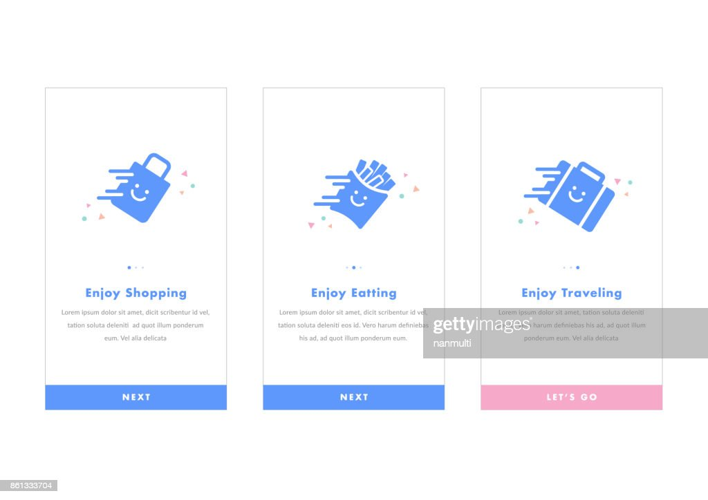 e-commerce mobile apps Modern interface UX, UI GUI screen template for mobile smart phone. Concept traveling shopping eating service. Vector icon