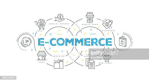 ilustrações, clipart, desenhos animados e ícones de moderno design plano de e-commerce - e commerce