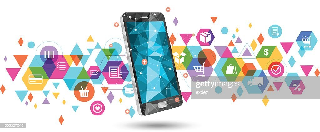 E-Commerce on smartphone : stock illustration