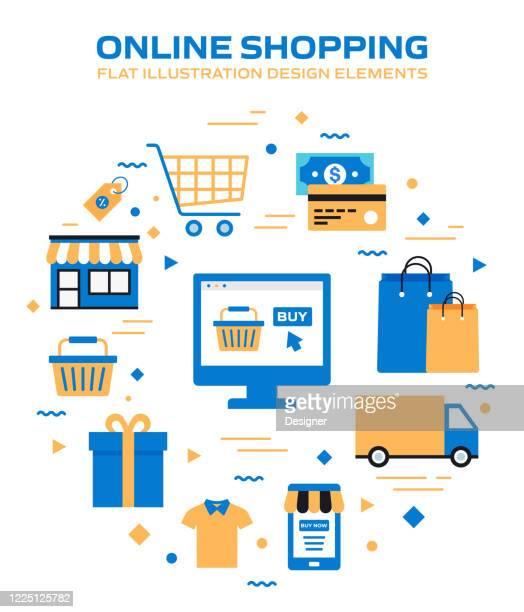 illustrazioni stock, clip art, cartoni animati e icone di tendenza di e-commerce, shopping online, illustrazione vettoriale moderna legata al marketing digitale - vendita al dettaglio