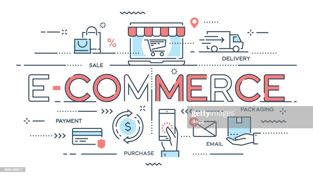 E-commerce, online shopping, retail, sale, delivery service thin line concept.