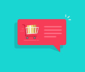Ecommerce order notification message vector illustration, flat bubble speech with full shopping cart and text, concept of online delivery message, sale or purchase on internet push message icon