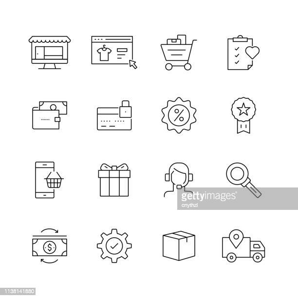 E-Commerce Related - Set of Thin Line Vector Icons