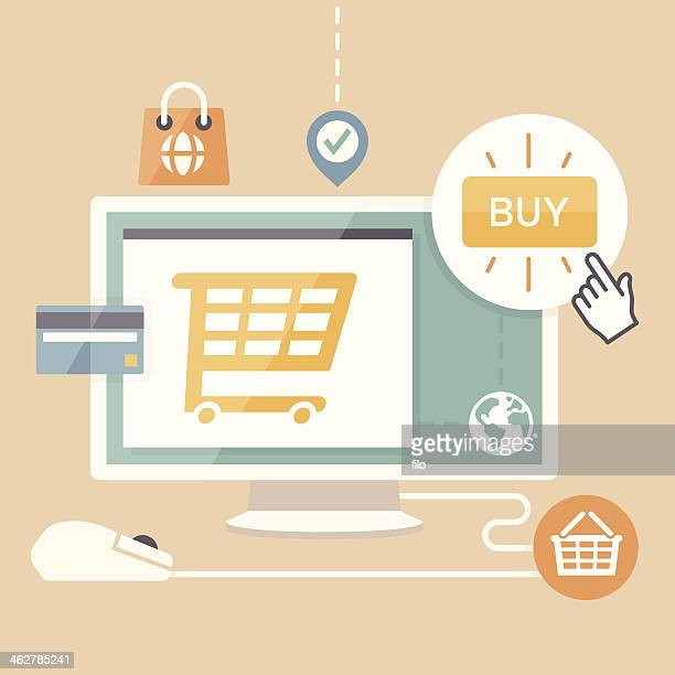 e-commerce shopping - ordering stock illustrations, clip art, cartoons, & icons