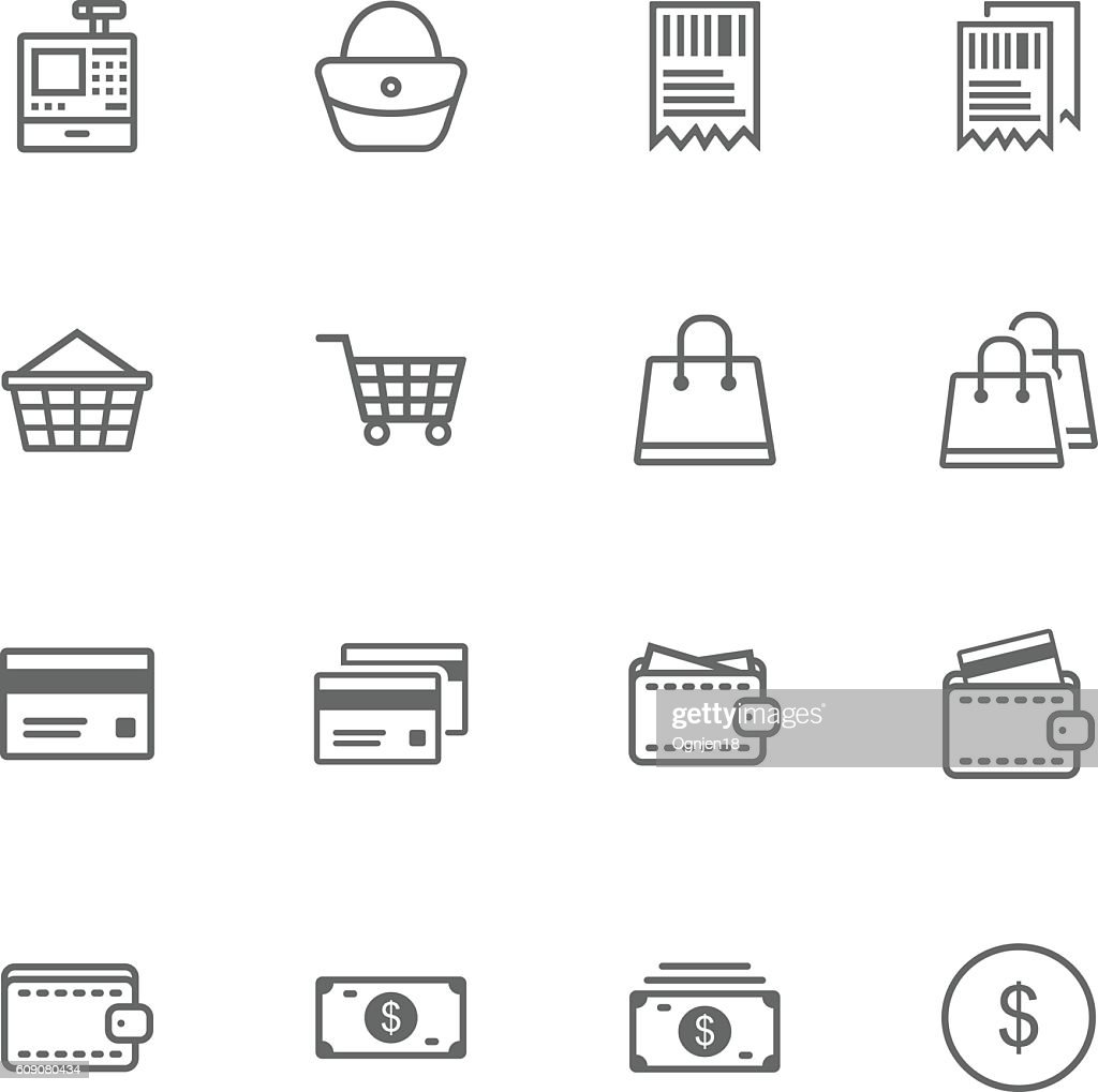 E-Commerce Thin Line Icon Set