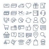 E-commerce thin line  icons set