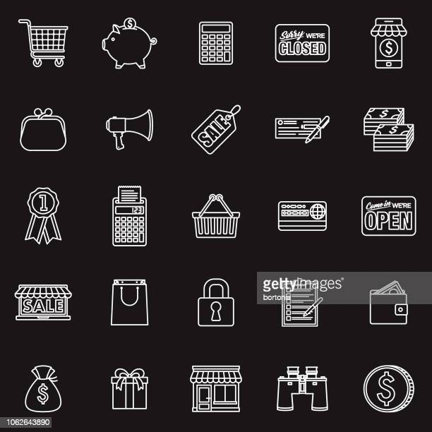 e-commerce thin line outline icon set - open sign stock illustrations, clip art, cartoons, & icons