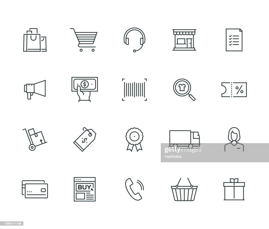 E-Commerce Thin Line Series : stock illustration