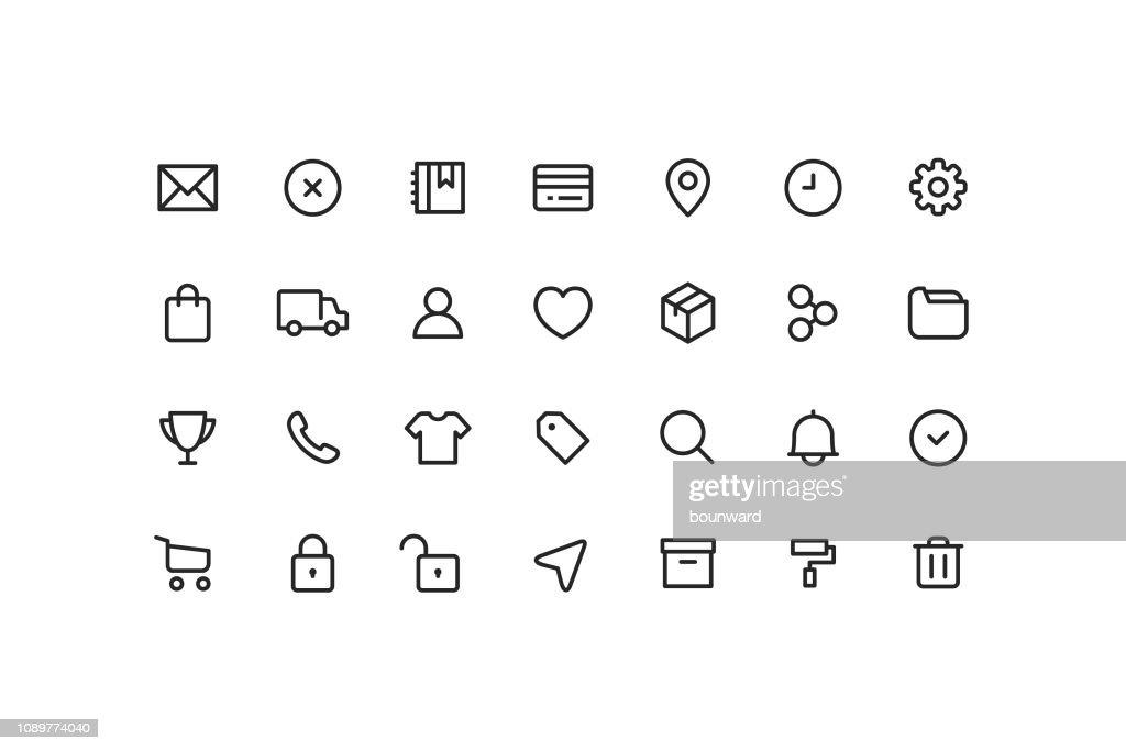 E-Commerce & User interface Ui Outline Icons : stock illustration
