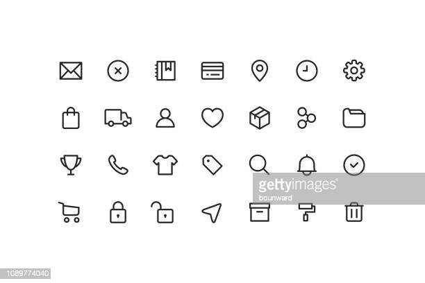 e-commerce & user interface ui outline icons - using phone stock illustrations