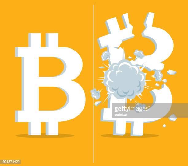 economic crisis - bitcoin - bomb - firework explosive material stock illustrations