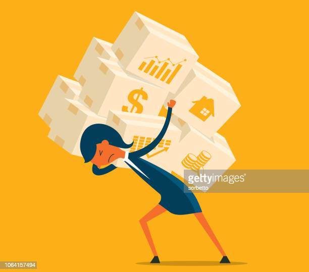 economic crisis - businesswoman - burden stock illustrations