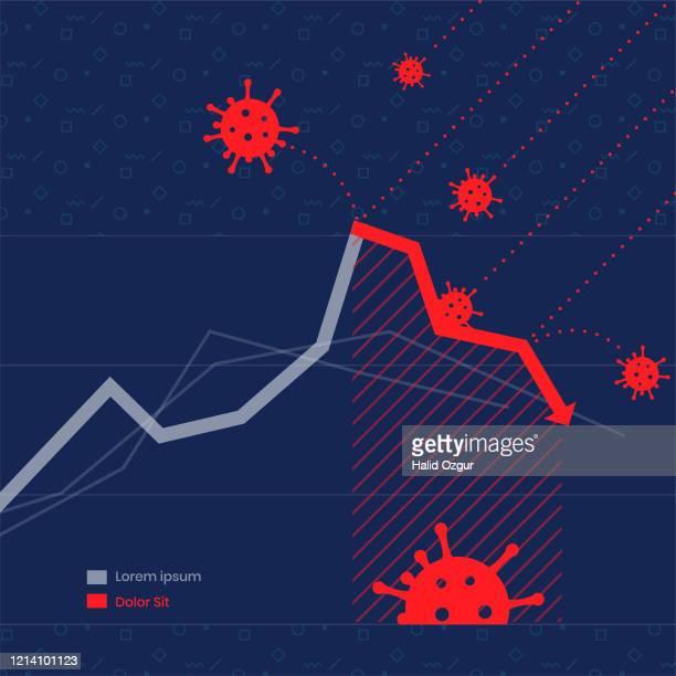 経済危機 covid-19 ワールドワイド - 株価暴落点のイラスト素材/クリップアート素材/マンガ素材/アイコン素材