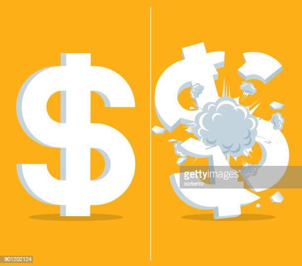 economic crisis - dollar - bomb - firework explosive material stock illustrations