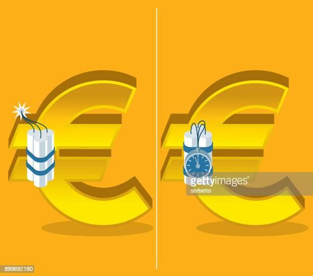 economic crisis - euro symbol - firework explosive material stock illustrations