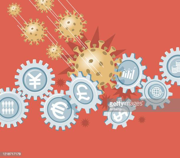illustrazioni stock, clip art, cartoni animati e icone di tendenza di economic crisis - gear wheel - crisi