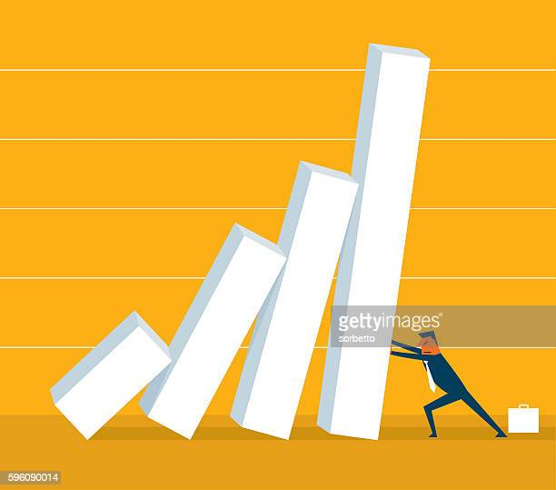 economic crisis - domino effect stock illustrations