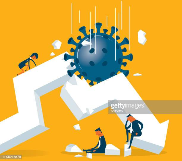 illustrazioni stock, clip art, cartoni animati e icone di tendenza di economic crisis - viruses - crisi