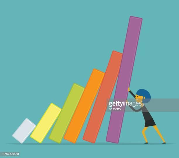 economic crisis with businesswoman - domino effect stock illustrations