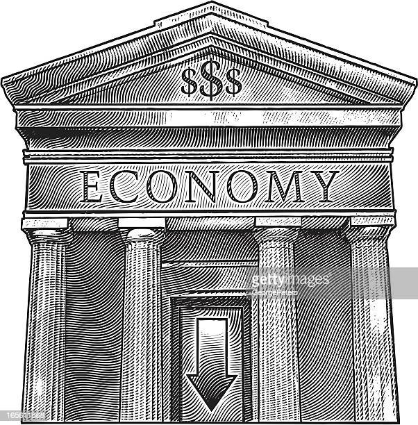 economic downturn - wall street lower manhattan stock illustrations, clip art, cartoons, & icons