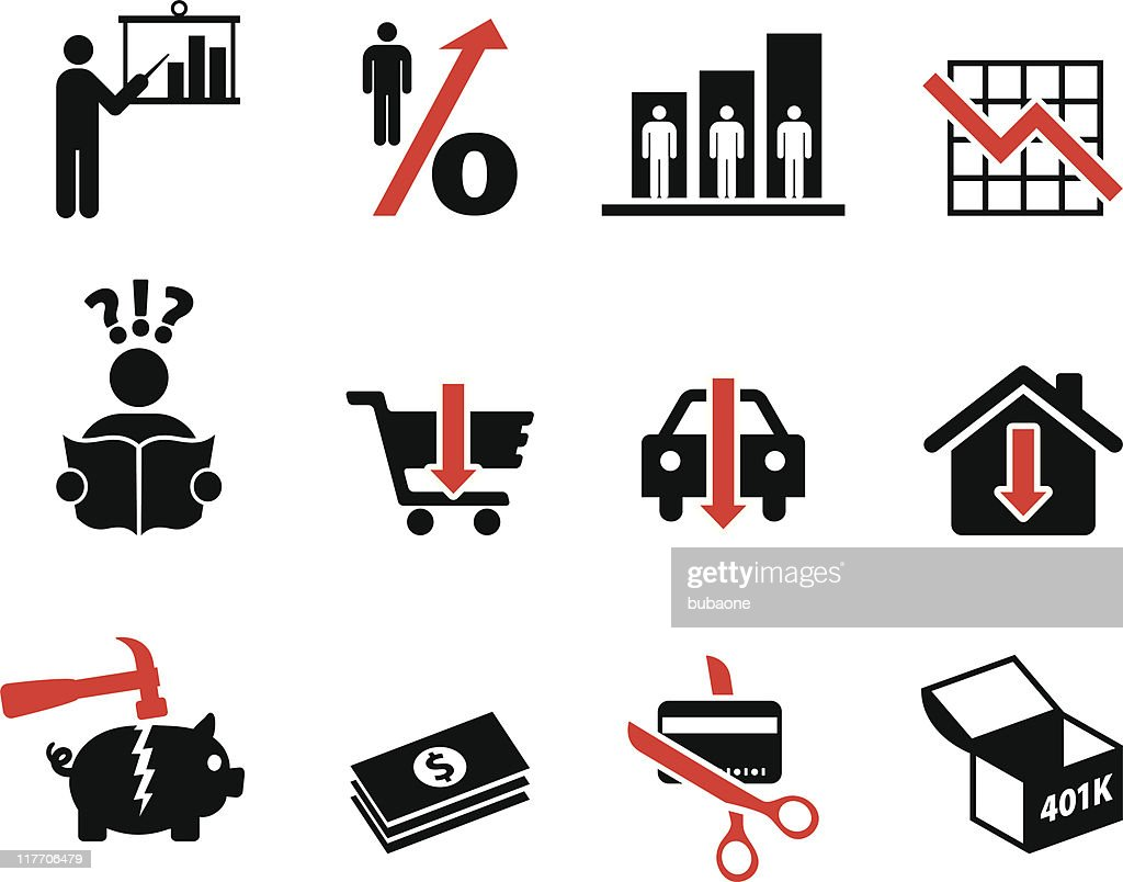 economic recession depression black and white royalty-free vector icon set