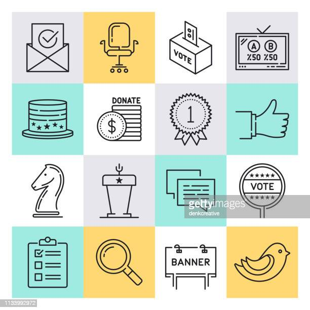 economics & elections outline style vector icon set - diplomacy stock illustrations