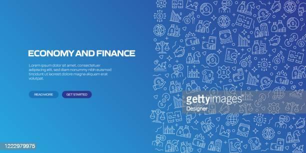 stockillustraties, clipart, cartoons en iconen met economie en financiën concept patroon vector illustratie - financiële planning