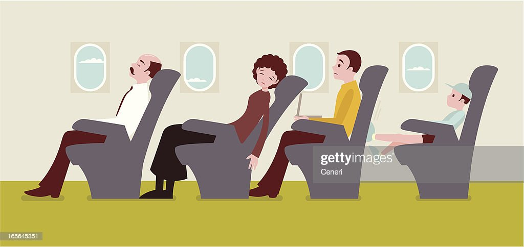 Economy class passengers on an airplane