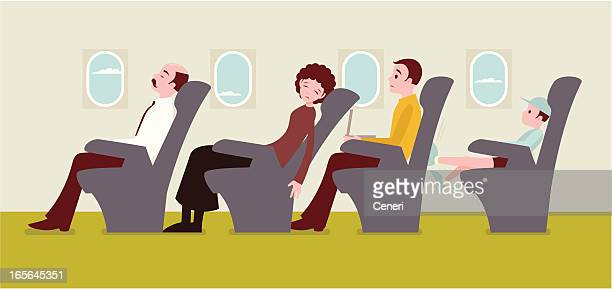 economy class passengers on an airplane - business travel stock illustrations, clip art, cartoons, & icons