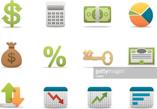 economy & finance icons | premium matte series - stock certificate stock illustrations