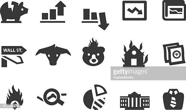 economy icons - fiscal year stock illustrations