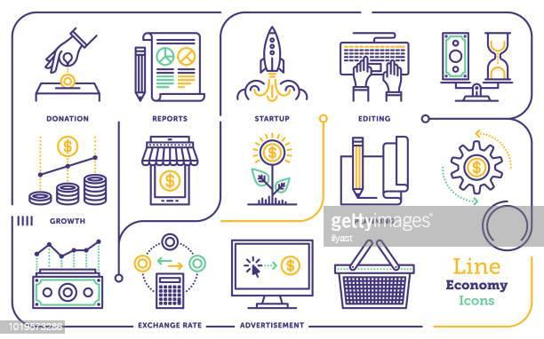illustrazioni stock, clip art, cartoni animati e icone di tendenza di economy line icon set - economia