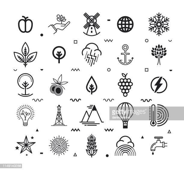 ilustraciones, imágenes clip art, dibujos animados e iconos de stock de ecosistemas y biodiversidad recursos línea estilo vector icono conjunto - biodiversidad