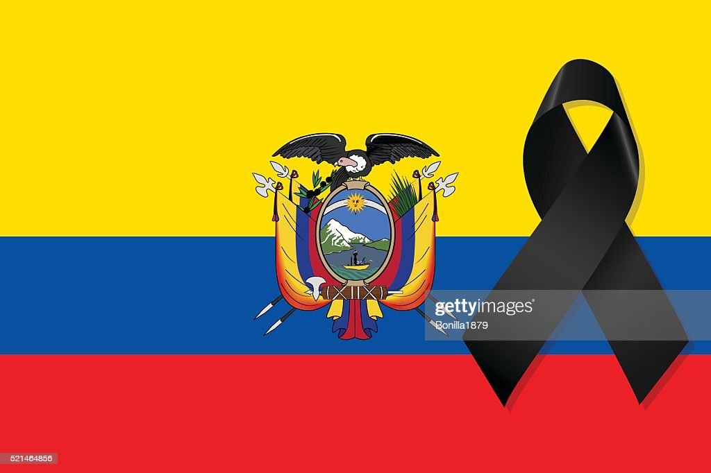 Ecuador flag with black ribbon vector
