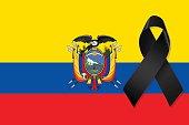 Ecuador flag with black ribbon vector
