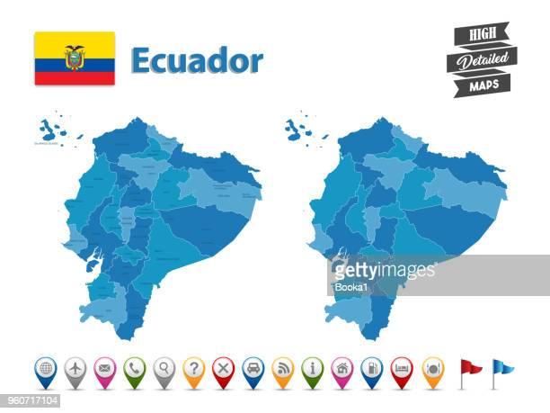ecuador  - high detailed map with gps icon collection - ecuador stock illustrations