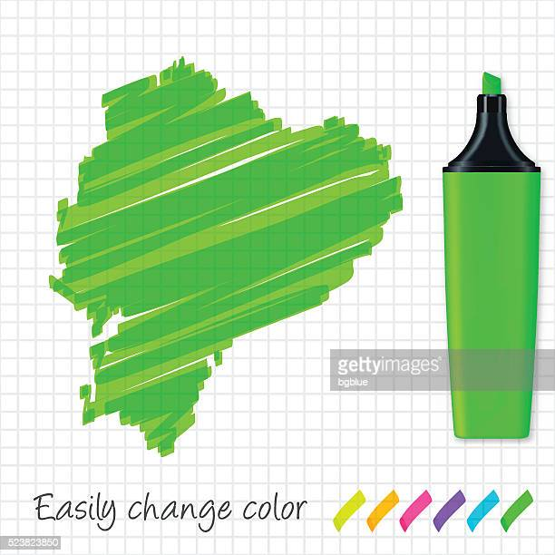 Ecuador map hand drawn on grid paper, green highlighter