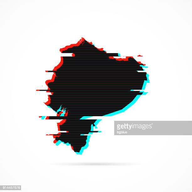 Ecuador map in distorted glitch style. Modern trendy effect