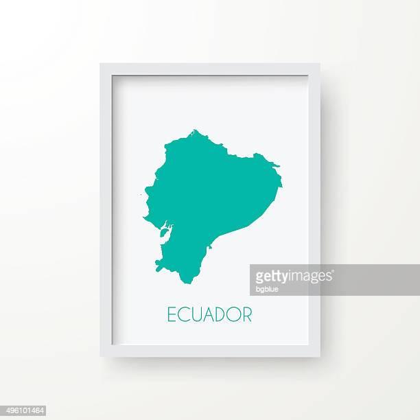 Ecuador Map in Frame on White Background