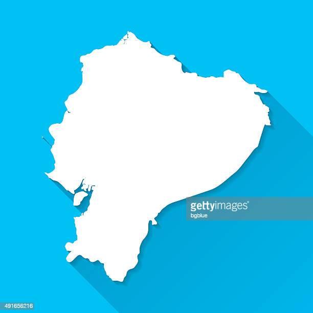 Ecuador Map on Blue Background, Long Shadow, Flat Design