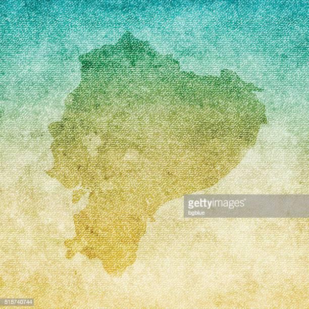 Ecuador Map on grunge Canvas Background