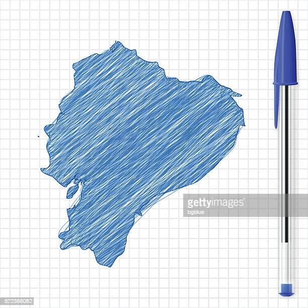 Ecuador map sketch on grid paper, blue pen